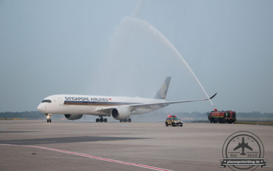 Erstlandung des Singapore Airlines A350-900 in DUS