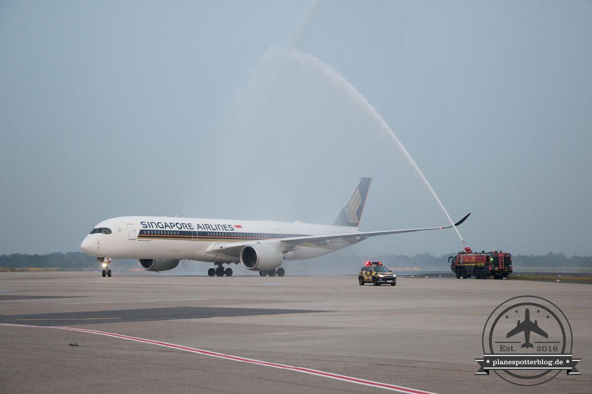 DUS Singapore Airlines A350 Erstlandung